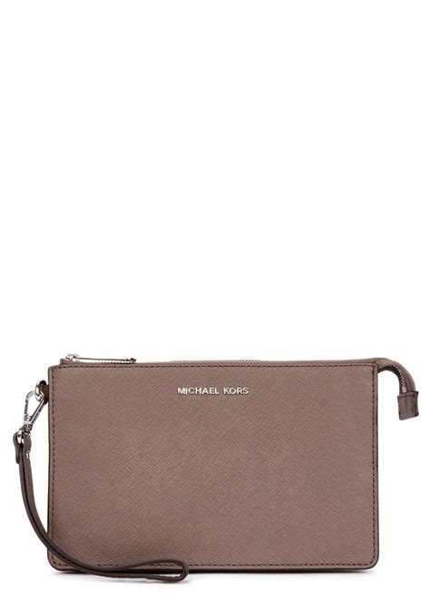 Michael Kors Clutch by Michael Kors Daniela Taupe Saffiano Leather Clutch In Gray