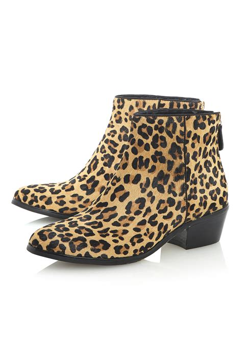 topshop peopard pony leopard print ankle boots by dune lyst