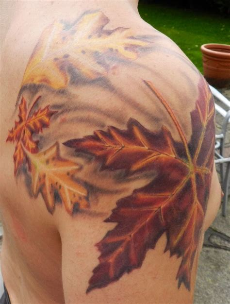 tattoo all done now leaf wind oak maple tattoo