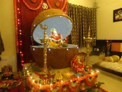 pin  sneha patil daxini  ganpati decorations