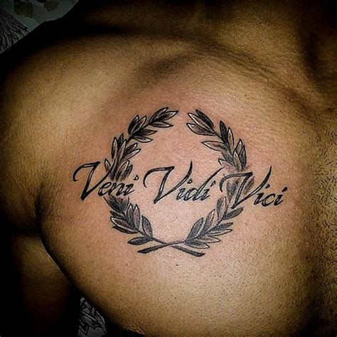 tattoo chest sentence veni vidi vici tattoos
