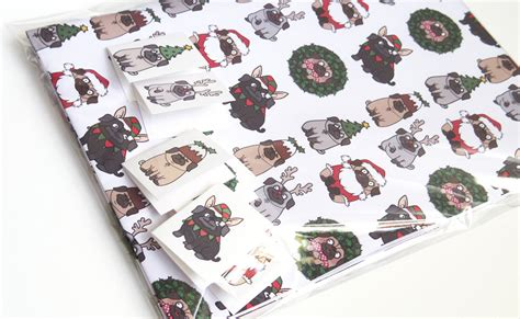 pug wrapping paper roll pug gift wrap and tags almost by pugsnkissesuk