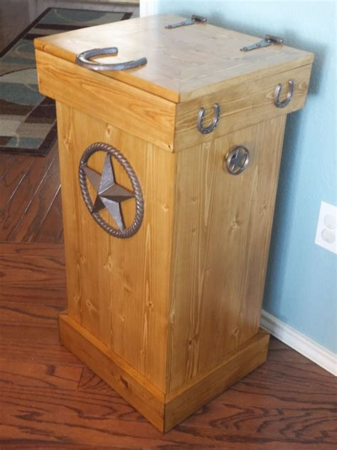 Kitchen Trash Bin Cabinet Buy A Hand Crafted Rustic Wood Trash Can Made To Order