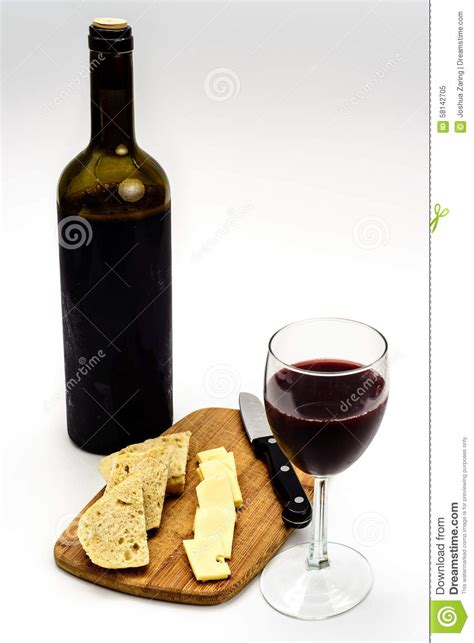 the italian dream wine 1614285195 wine bottle with glass cheese bread cutting board stock photo image 58142705