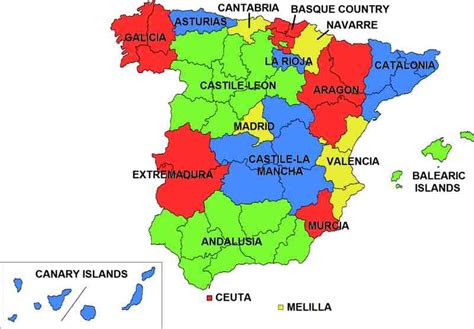 map of spain and regions the 17 regions of spain abcplanet cheap flights