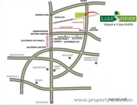 nisarga layout bannerghatta road map lake shore villa jigani industrial area bangalore