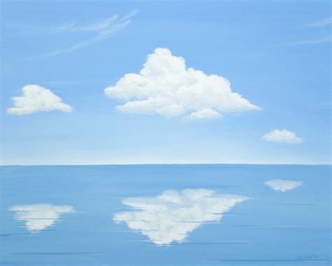acrylic paint clouds original painting calm seascape blue sky large