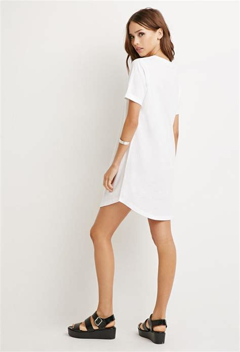 Classic Shirt Dress lyst forever 21 classic t shirt dress in white