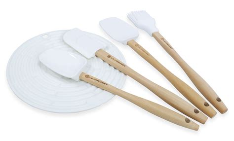 Tamahagane Kitchen Knives by Le Creuset Silicone Utensil Set 5 Piece White