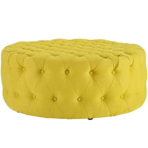 round yellow ottoman round tufted fabric ottoman modern furniture brickell