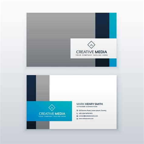 Blue Business Card Template by Professional Gray And Blue Business Card Design Template
