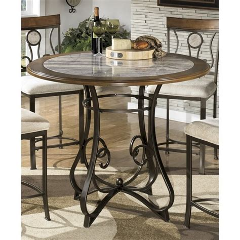 Marble Counter Height Dining Table Hopstand Counter Height Faux Marble Dining Table In Brown D314 13tb Kit