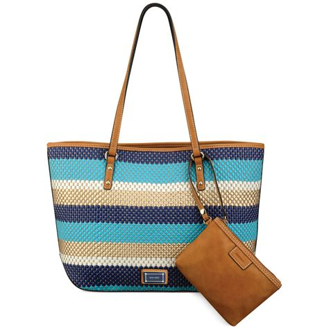 Nine Wests Dreamweaver Woven Tote by Nine West Show Stopper Medium Tote In Blue Ultramarine