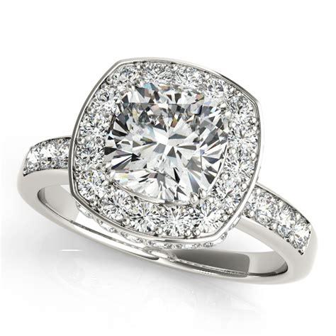 cushion cut halo engagement ring 14k white gold 1 34ct