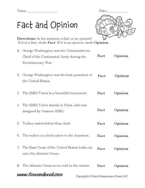 Fact And Opinion Worksheets by Fact And Opinion Worksheet 01 Tim De Vall