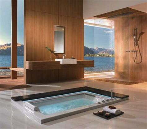 in floor bathtub elegant modern bathroom design blending japanese minimalist style with contemporary ideas