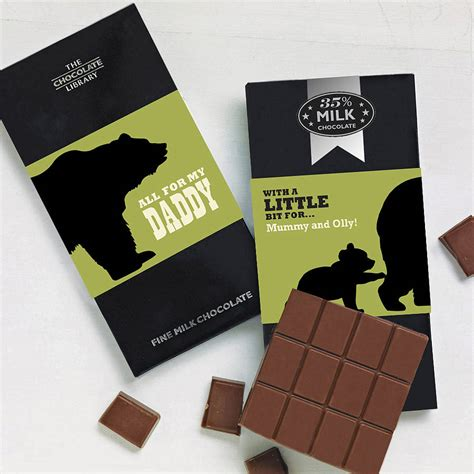Papabear Belgian Chocolate Papa Personalised Chocolate Bar By Gift