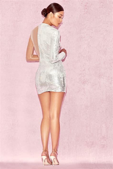 Zia Dress clothing bodycon dresses zia silver sequin