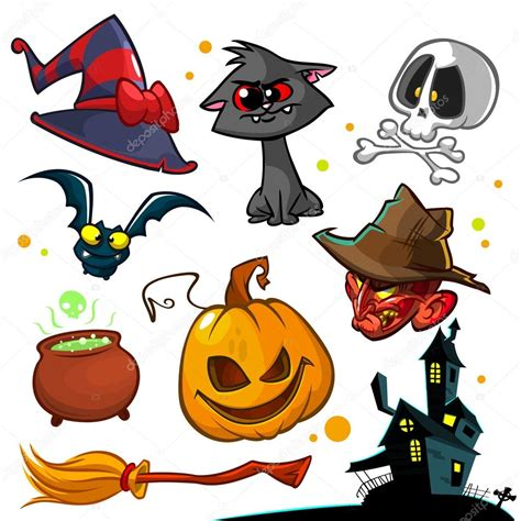 arevlos navideos vector set of halloween pumpkin and attributes icons