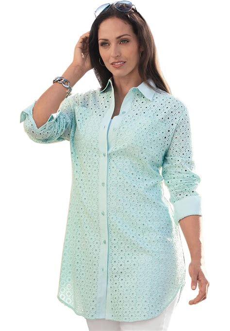 Blouse Motif Curve Size eyelet blouse plus size leopard trim blouse