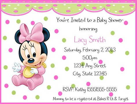 minnie mouse baby shower invitation template baby minnie mouse birthday invitations birthday