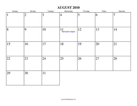 August 2010 Calendar August 2010 Calendar