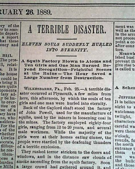 plymouth newspaper plymouth pa pennsylvania powell s squib factory explosion