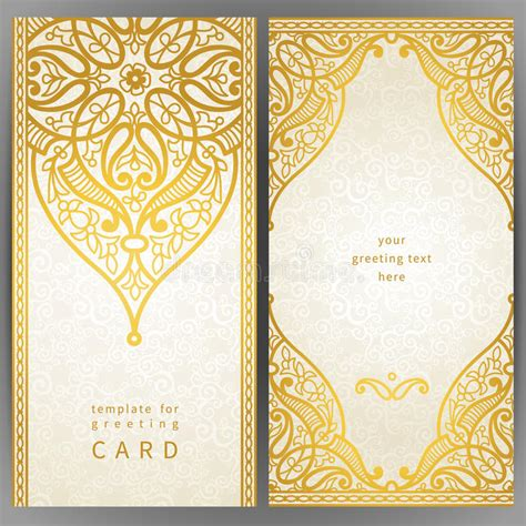 ornate card templates vintage ornate cards in style stock vector