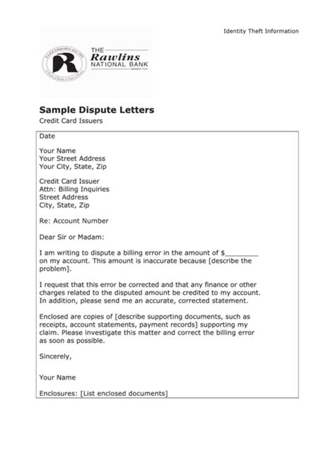 sample dispute letter template credit card issuers