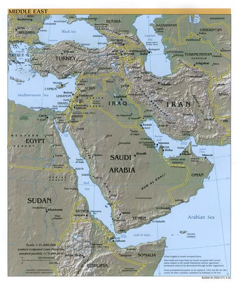 physical middle east map middle east physical map 2000 size
