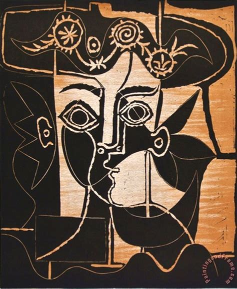 picasso big art pablo picasso large woman s head with decorated hat painting large woman s head with decorated