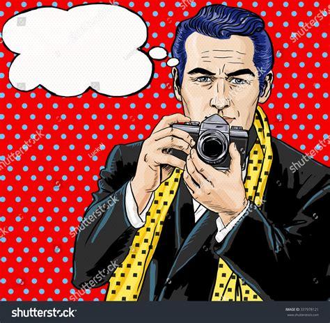 imágenes retro soda vintage pop art man photo camera stock illustration