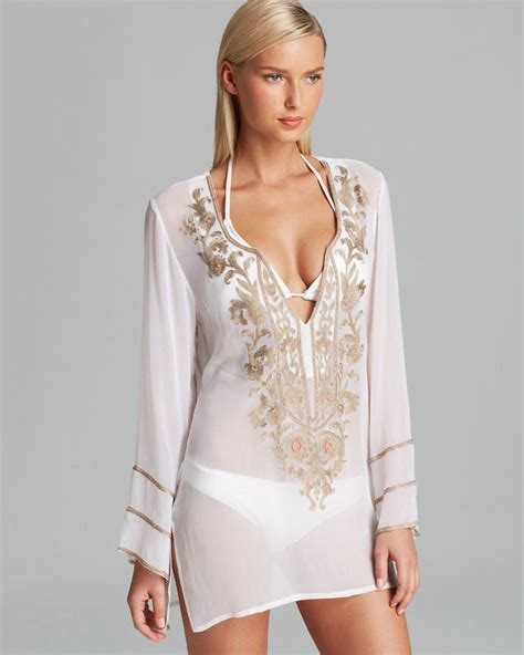 beaded swim cover up ella moss white floral beaded swimsuit cover up