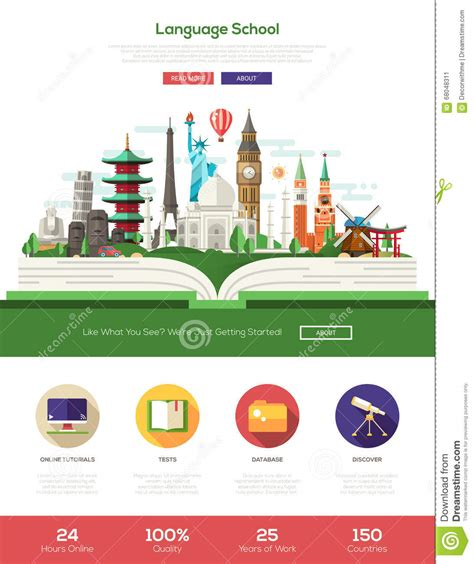 design is one online flat design language school website header banner with