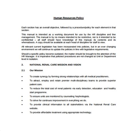 human resource manual template sle human resources policies sle procedures for small