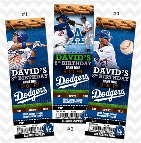 la dodgers los angeles dodgers ticket invitation by