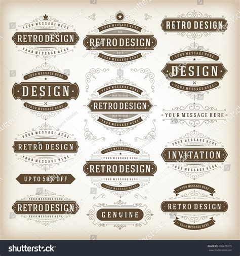 vintage vector design elements retro style typographic vintage vector design elements retro style stock vector