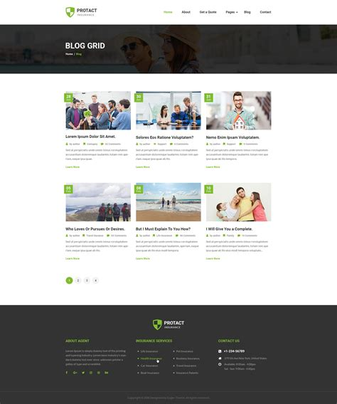 blog grid protact insurance agency business psd template by
