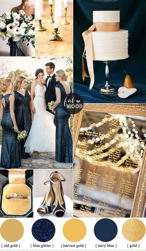 gold and navy blue wedding color palette for classic winter wedding