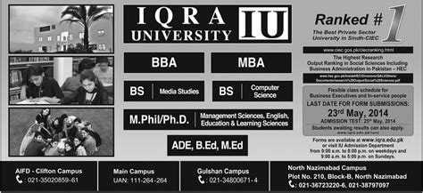 Iupui Mba Admissions by Iqra Karachi Admission 2015 Form Last Date