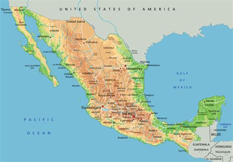 physical map mexico mexico physical map my