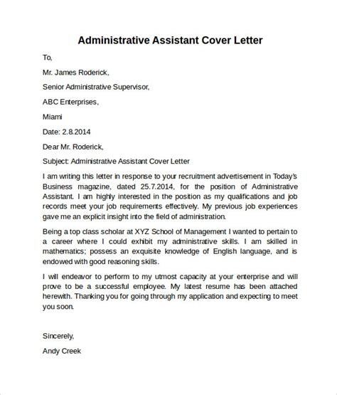 Admin Cover Letter Sles by Administrative Assistant Cover Letter Exle Best Template Collection