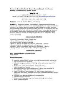 Duties Of A Hostess For Resume by Hostess Description For Resume Sles Of Resumes