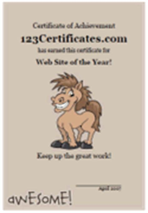 printable gift certificates with horses cute animal certificate templates