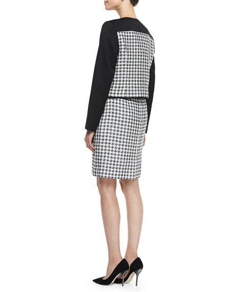 Houndstooth Dress Set albert nipon houndstooth combo sheath dress jacket set