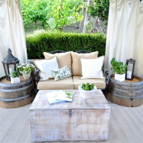 outdoor living patio accent tables home decorating best outdoor living rooms diy using vintage wine barrels