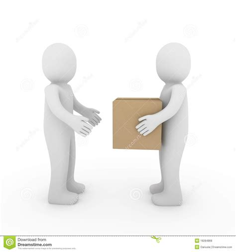 Is 2d Blind 3d Two Human Package Shipping Box Royalty Free Stock