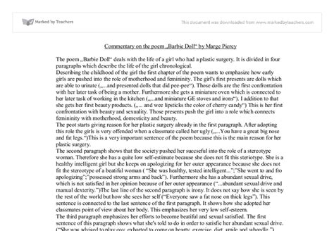 Doll Poem Essay by Commentary On The Poem Doll By Marge Piercy International Baccalaureate Languages