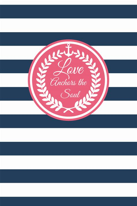 wallpaper pink navy pink wreath navy white stripes love anchors soul iphone