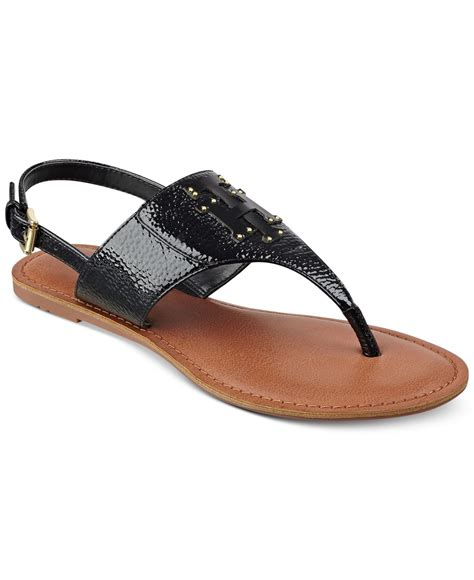 black sandals hilfiger laney flat sandals in black black